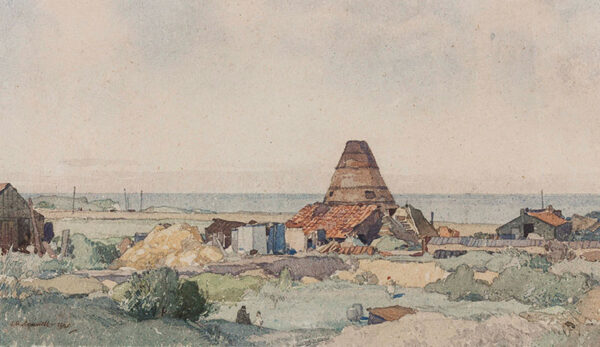 SQUIRRELL Leonard Russell R.W.S. (1893-1979) - Norfolk; an ancient lime kiln and sheds 0n the cliffs at East Runton.