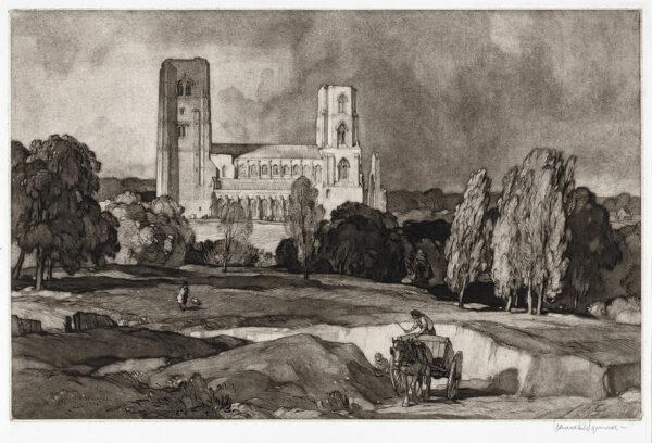 SQUIRRELL Leonard R.W.S. R.E. (1893-1979) - 'Wymondham Abbey'.