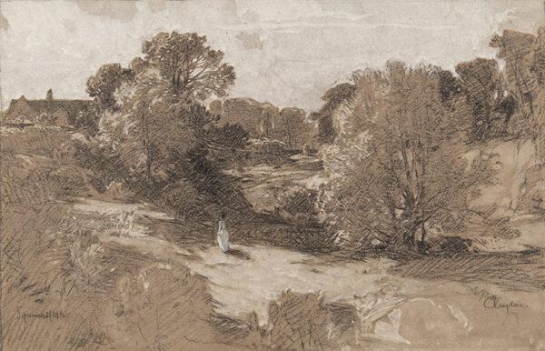 SQUIRRELL Leonard R.E. R.W.S. (1893-1979) - Claydon: 'June, in a Suffolk Dell' Chalk and watercolour washes.