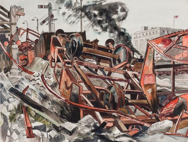 STAFFORD-BAKER Julius (1869-1961) - Bombed railway station, Foggia.