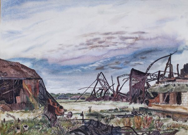 STAFFORD-BAKER Julius (1904-1988) - 'Carpiquet near Caen Normandy, Canadians fighting on one side of aerodrome with Huns on the other / Captured in June (1944).