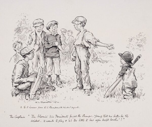 """STAMPA George Lorraine (1875-1951) - Cricket: 'The Captain: """"The bloomin Vice President's forgot the stumps – Young Bill 'ere better be the wicket – e' wants to play and e's too little to bat agin swift bowlin …""""'."""