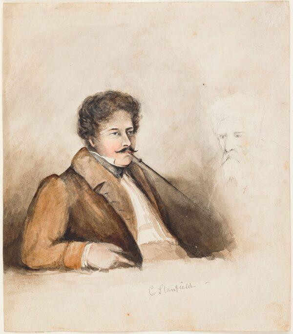 STANFIELD Clarkson R.A. (1793-1867) - Portrait of a man smoking a chibouk.