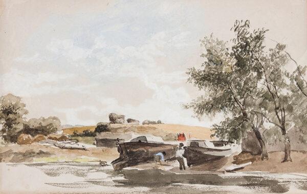 STARK James (1794-1859) - Barges, possibly the upper Thames.