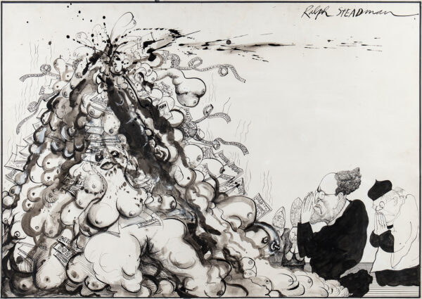 STEADMAN Ralph (b.1936) - The Temptation of Lord Longford, The Longford Report on Pornography was published in 1972.