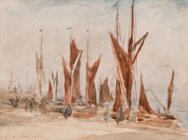 STEER Philip Wilson O.M. N.E.A.C. (1860-1942) - Thames barges.