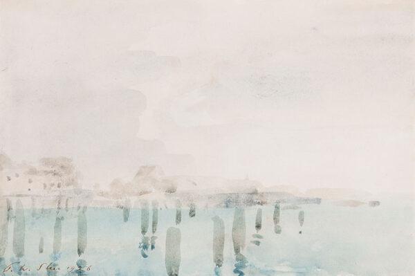 STEER Philip Wilson O.M. (1860-1942) - 'Shoreham', a misty morning along the beach.