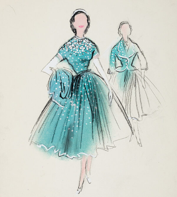 STIEBEL Victor (1907-1976) - Presentation drawing of a Garden Party Dress in turquoise and white spotted surah.