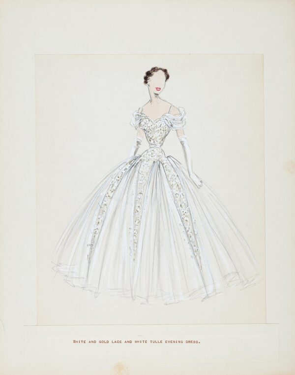 STEIBEL Victor (1907-1976) - Presentation drawing of white and gold lace and white tulle evening dress.