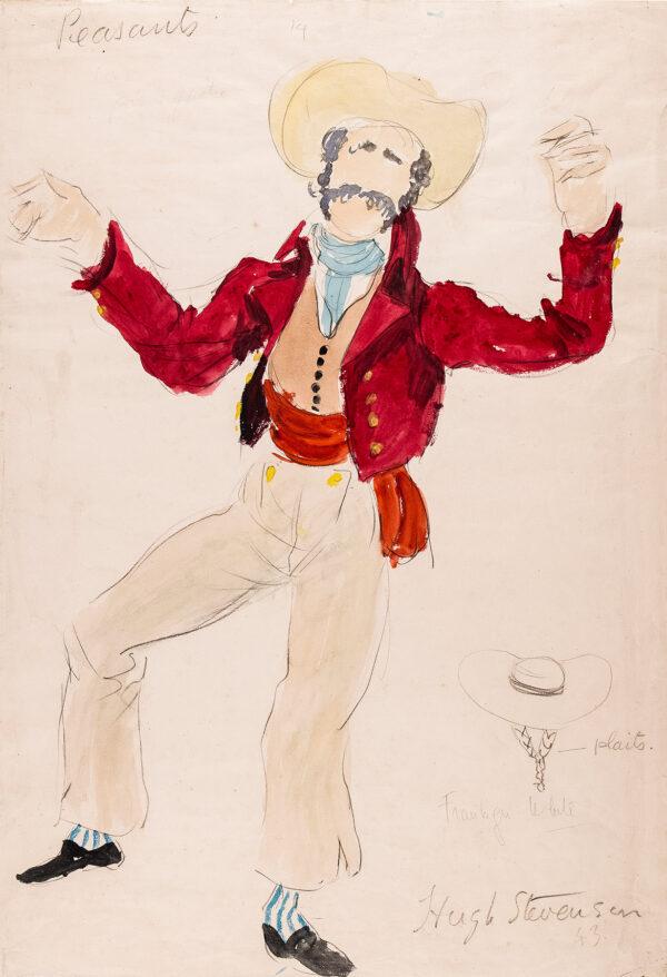 STEVENSON Hugh (1910-1956) - 'Peasant', costume design for Franklin White for the Sadlers Wells Ballet, 1943.