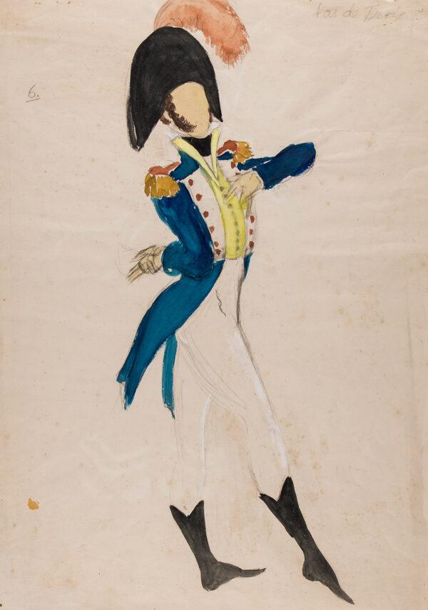 STEVENSON Hugh (1910-1956) - 'Pas de Trois': costume design for Alexis Rassine in the ballet 'Promenade', Sadler's Wells Ballet, King's Theatre, Edinburgh, 1943.