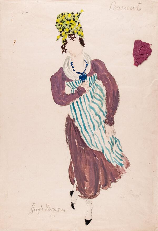 STEVENSON Hugh (1910-1956) - 'Peasant', costume design for Peggy van Praagh for the Sadlers Wells Ballet, 1943.
