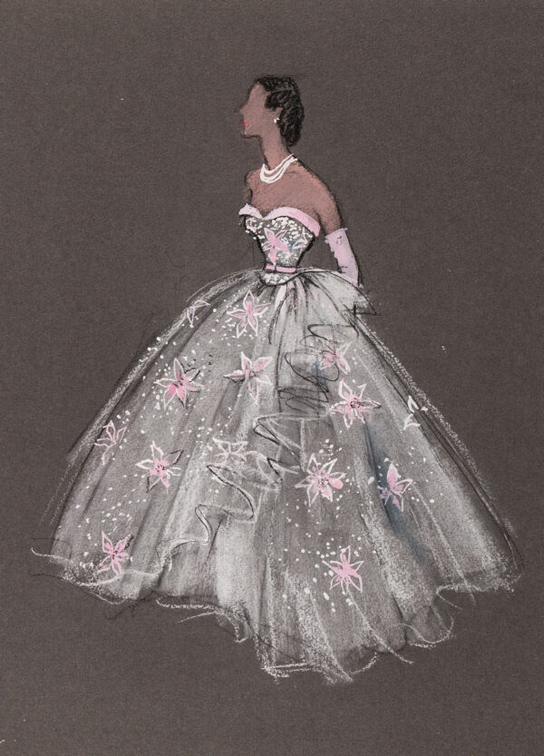 STIEBEL Victor (1907-1976) - 'A White Silk Tulle Picture Dress embroidered with flower motifs carried out in gaiged rose-coloured tulle and diamonds.