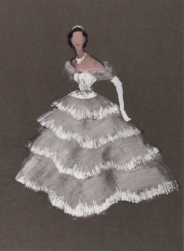 STIEBEL Victor (1907-1976) - 'A White Tulle Evening Dress.
