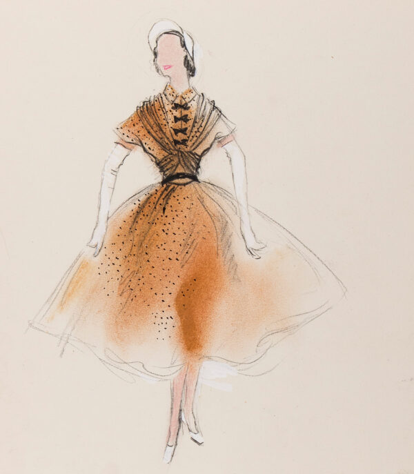 STIEBEL Victor (1907-1976) - 'Cinnamon-Coloured Silk Chiffon powdered with black spots makes this Afternoon Dress.