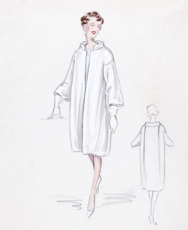 STIEBEL Victor (1907-1976) - 'Coat in heavy white shantung'.