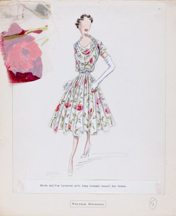 STIEBEL Victor (1907-1976) - 'White chiffon (printed with long stemmed roses) day dress'.