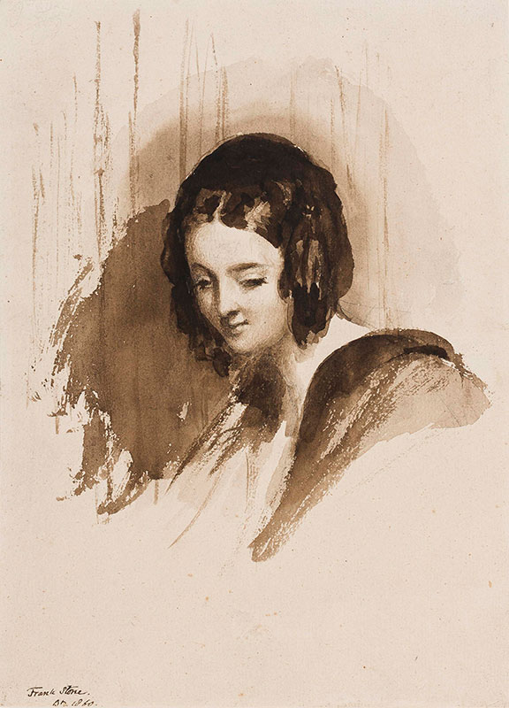 STONE Frank (1800-1859) - Portrait study of Caroline Norton (1808-1877) Legal Reformer and Celebrity Figure.