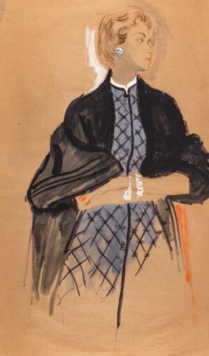 STONEHOUSE M.B.E. Brian (1918-1998) - A Dark Evening Coat over a Blue and Black Dress.