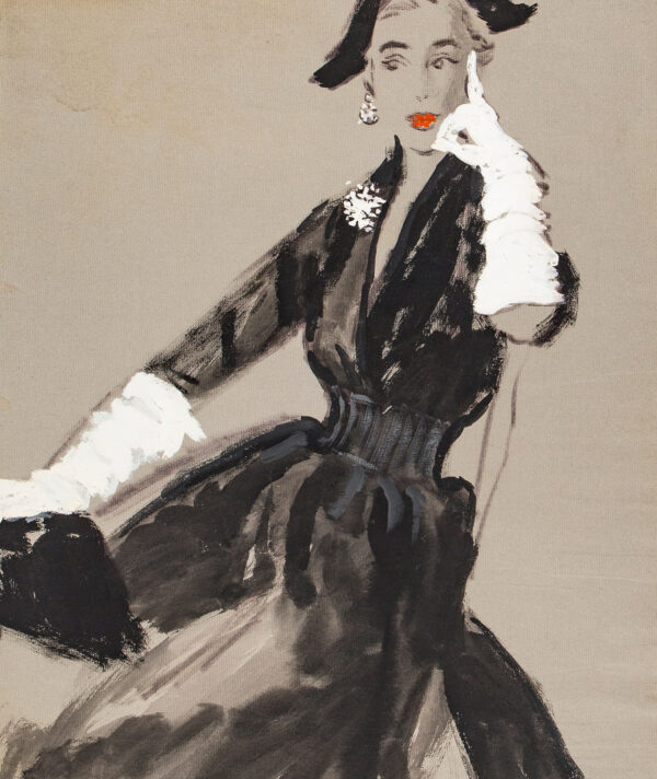 STONEHOUSE M.B.E. Brian (1918-1998) - 'For Cocktails or the Theatre, black silk cut to a deep V at the neckline with below the elbow sleeves and its own waist-cincher.