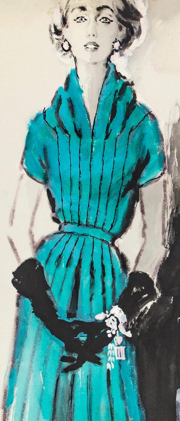 STONEHOUSE M.B.E. Brian (1918-1998) - An Aquamarine, Pleated Dress and Black Gloves.