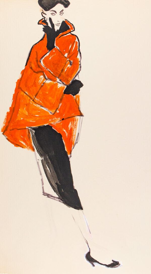 STONEHOUSE M.B.E. Brian (1918-1998) - Orange Red Coat and Black Skirt.
