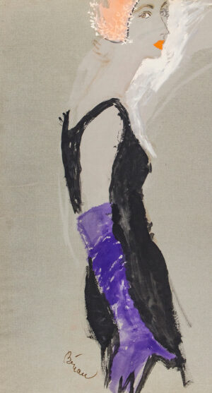 STONEHOUSE M.B.E. Brian (1918-1998) - Black Evening Dress and Purple Glove.