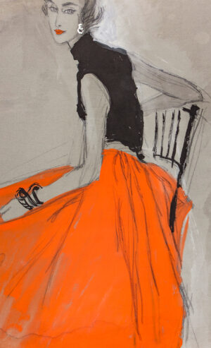 STONEHOUSE M.B.E. Brian (1918-1998) - Full Red Skirt and Black Top.