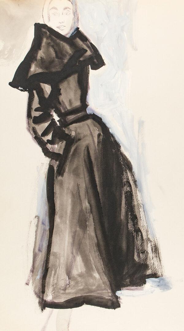 STONEHOUSE M.B.E. Brian (1918-1998) - Black Coat Dress with a Cape Collar.