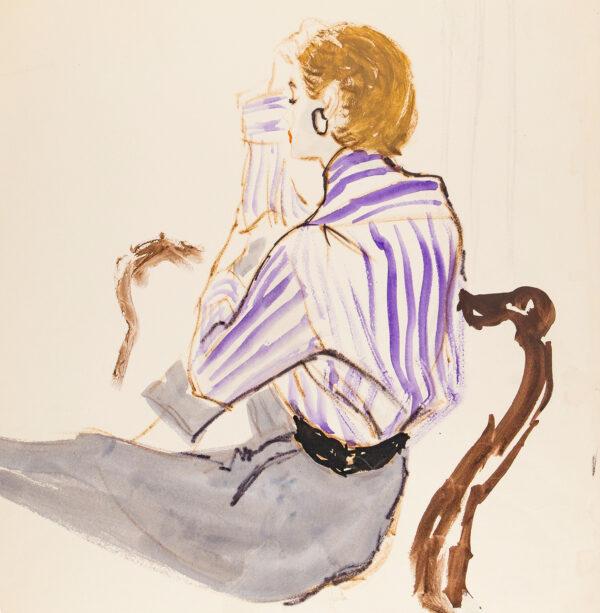 STONEHOUSE M.B.E. Brian (1918-1998) - A Mauve Striped Blouse.
