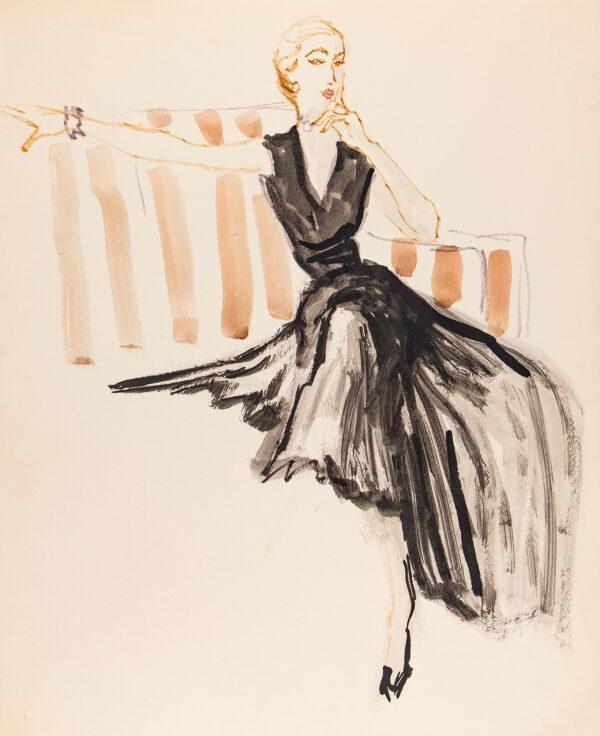 STONEHOUSE M.B.E. Brian (1918-1998) - Black Dress against a Striped Sofa.