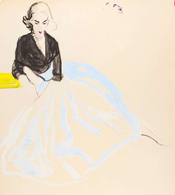 STONEHOUSE M.B.E. Brian (1918-1998) - A Full, pale Blue Skirt and Black Top.
