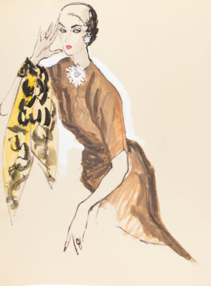 STONEHOUSE M.B.E. Brian (1918-1998) - A Tobacco Brown Dress, and Patterned Scarf.