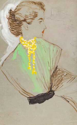 STONEHOUSE M.B.E. Brian (1918-1998) - Gold Necklace and Green Top.