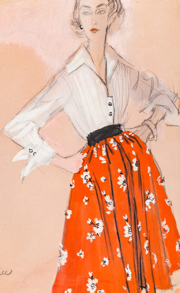 STONEHOUSE M.B.E. Brian (1918-1998) - Full Red Skirt, with Flowers, and White Blouse.