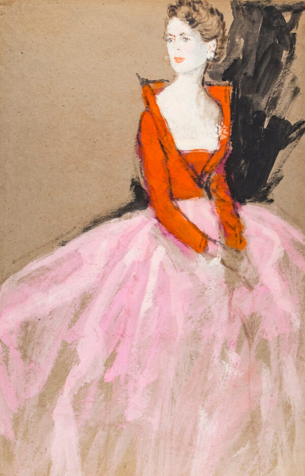 STONEHOUSE M.B.E. Brian (1918-1998) - A Pink and Red Evening Dress.