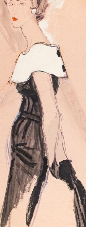 STONEHOUSE M.B.E. Brian (1918-1998) - Black Dress with a White Cape Collar.