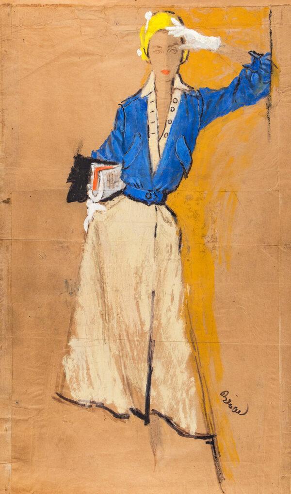 STONEHOUSE M.B.E. Brian (1918-1998) - Modelling a Paris dress by Lanvin-Castillo.