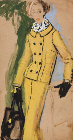 STONEHOUSE M.B.E. Brian (1918-1998) - The Yellow Suit Ink, watercolour and gouache on tan paper.