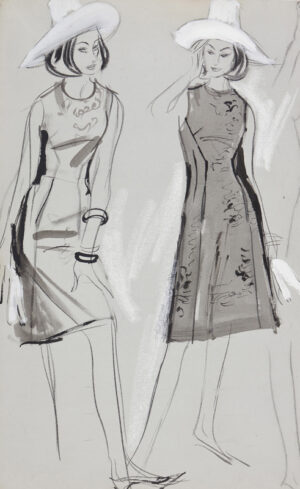 STONEHOUSE M.B.E. Brian (1918-1998) - Two Studies of a Day Dress No.