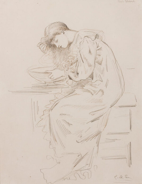 STOREY George Adolphus R.A. (1834-1919) - 'Miss Brome(?)' washing her hair .