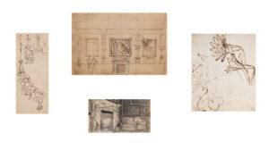 STOTHARD Thomas R.A. (1755-1834) - Two pages of plant studies (pen and ink), a design for or record of a mantlepiece (pencil) and the sketch for a picture hang (pen and ink).