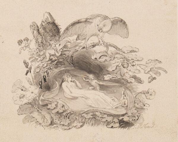 STOTHARD Thomas R.A (1755-1834) - Owl and sleeping fairy.