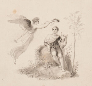 STOTHARD Thomas R.A. (1755-1834) - Fame crowning a harpist.