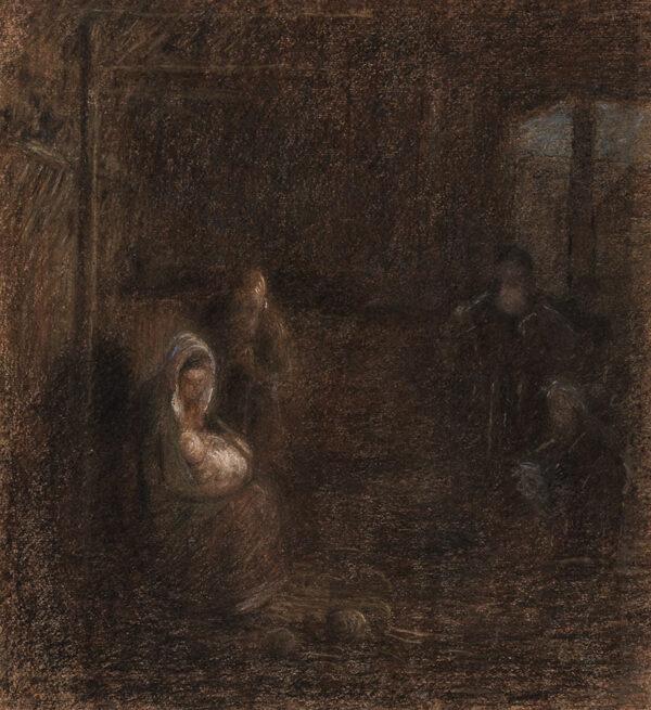 STOTT Edward A.R.A. (1859-1918) - 'The Adoration of the Shepherds' Pastel.