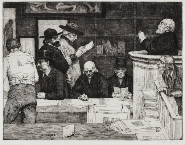 STRANG William R.A. N.E.A.C. R.E. (1859-1921) - 'A Sale of Prints at Sotheby's' (WS.