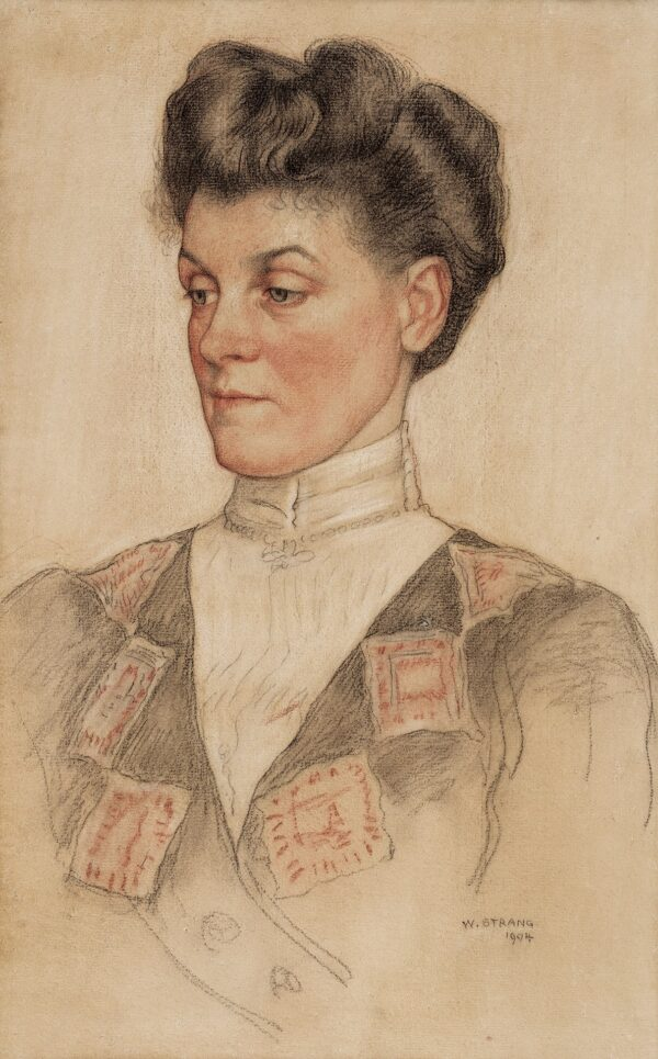 William Strang R.A. R.E. (1859-1921) -  The Artist's Wife: Agnes Rogerson Strang (c.