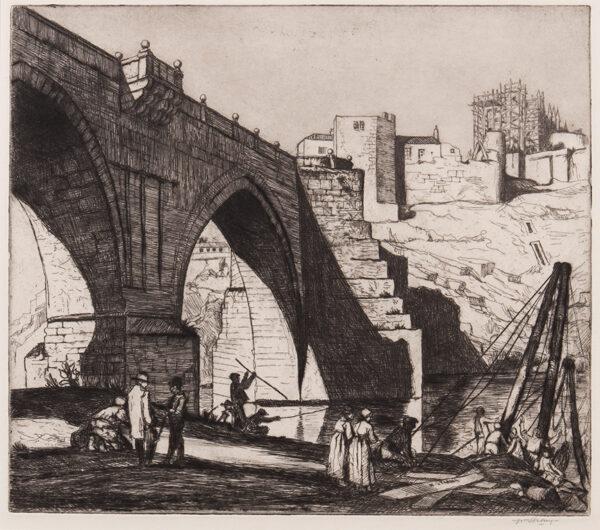 STRANG William R.E. R.A. (1859-1921) - 'Old Bridge, Toledo'.