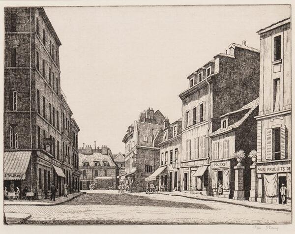STRANG Ian R.E. (1886-1952) - 'Street in Montmartre': rue de Mont Cernis.