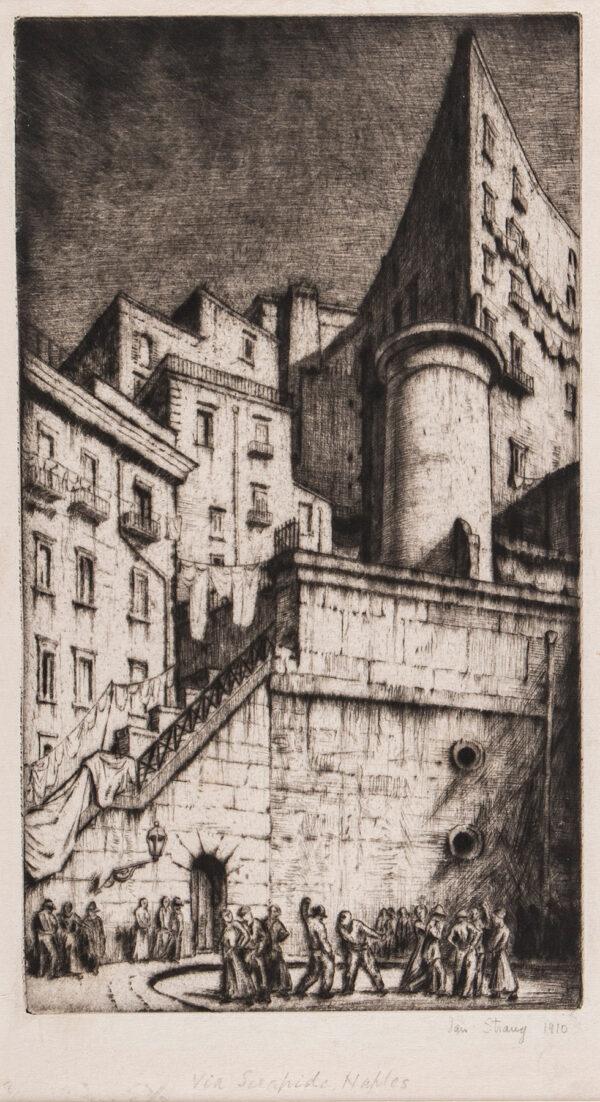 STRANG Ian R.E. (1886-1952) - 'Via Serapide, Naples'.